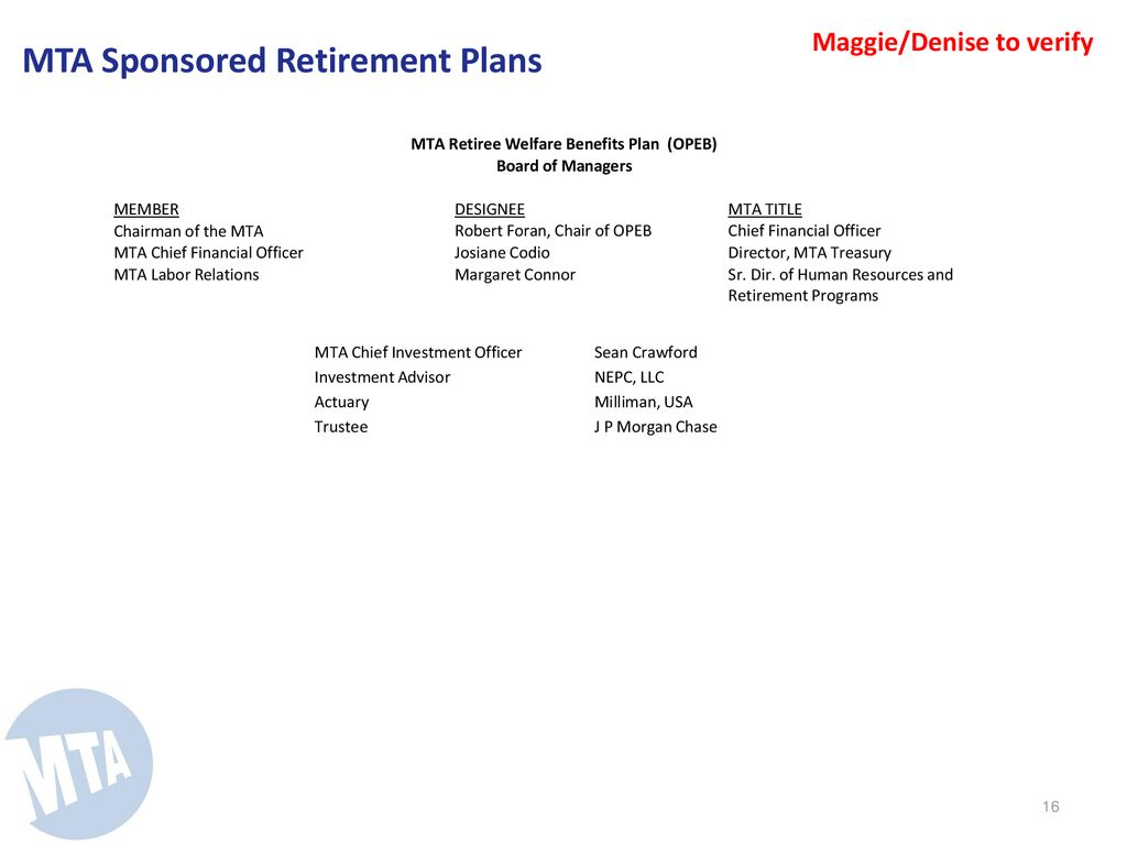 Annual Review of MTA Sponsored Pension & Retirement Funds - ppt download