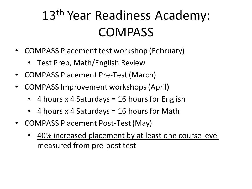 13th Year Readiness Academy: COMPASS