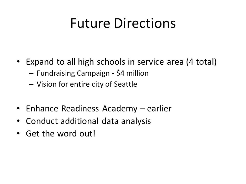 Future Directions Expand to all high schools in service area (4 total)