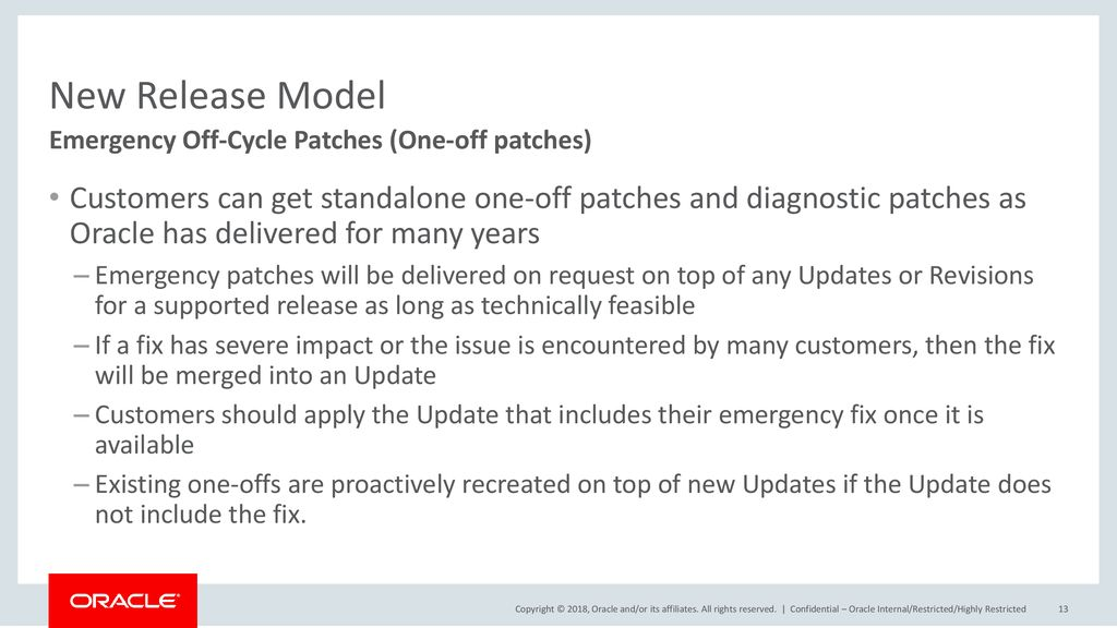 New Release Model Emergency Off-Cycle Patches (One-off patches)
