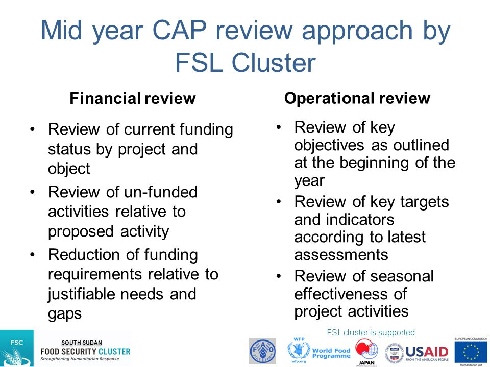 Mid year CAP review approach by FSL Cluster