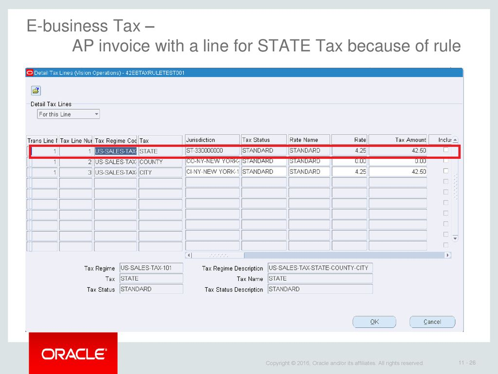 Oracle E-business tax – How to create a rule to make tax