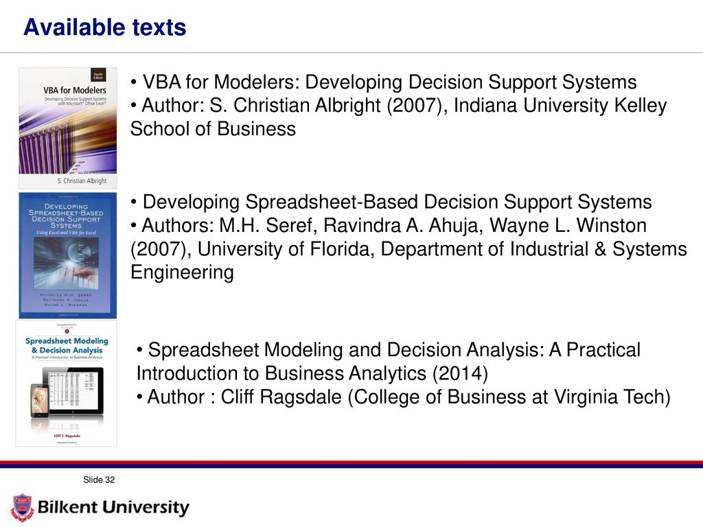available texts vba for modelers developing decision support systems