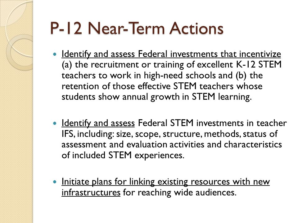 P-12 Near-Term Actions