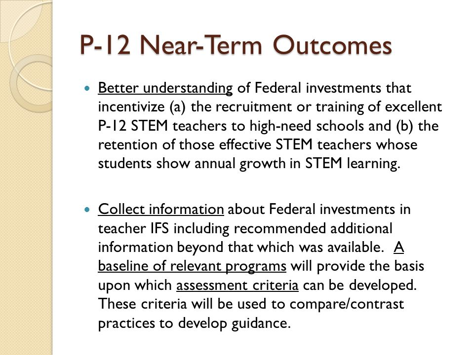 P-12 Near-Term Outcomes
