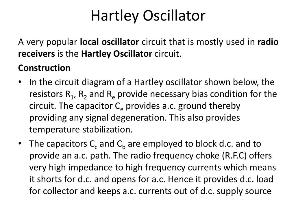 Electronics Devices Circuits Ppt Download Pushpull Oscillator Circuit Oscillatorcircuit Signalprocessing Hartley A Very Popular Local That Is Mostly Used In Radio Receivers