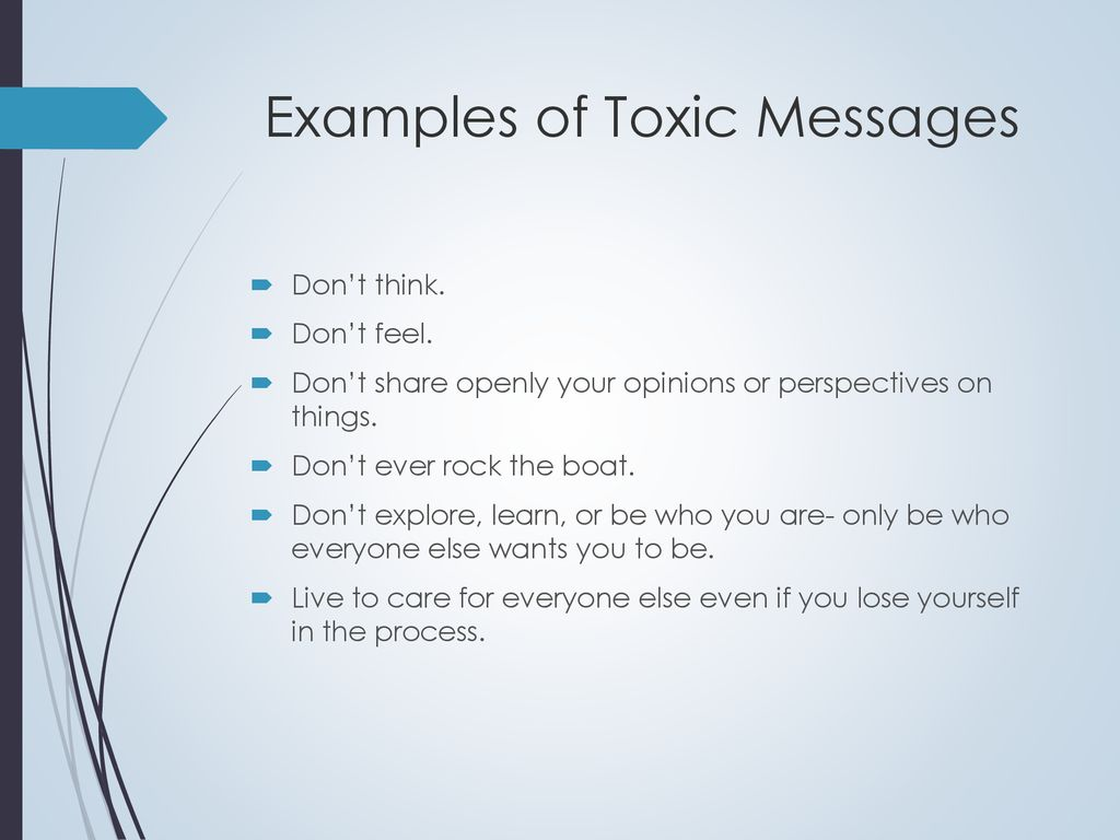 Examples of Toxic Messages