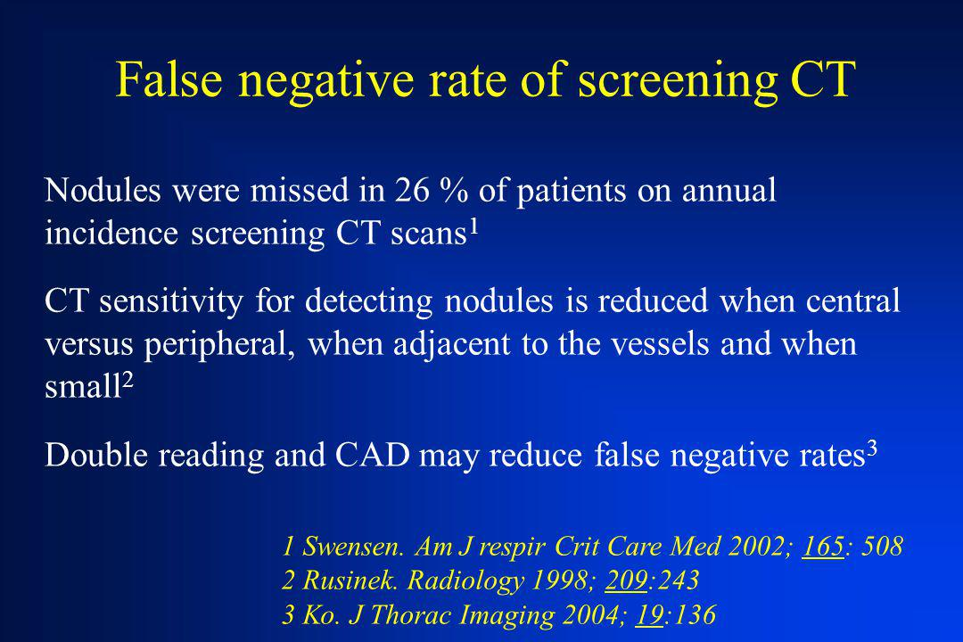 False negative rate of screening CT