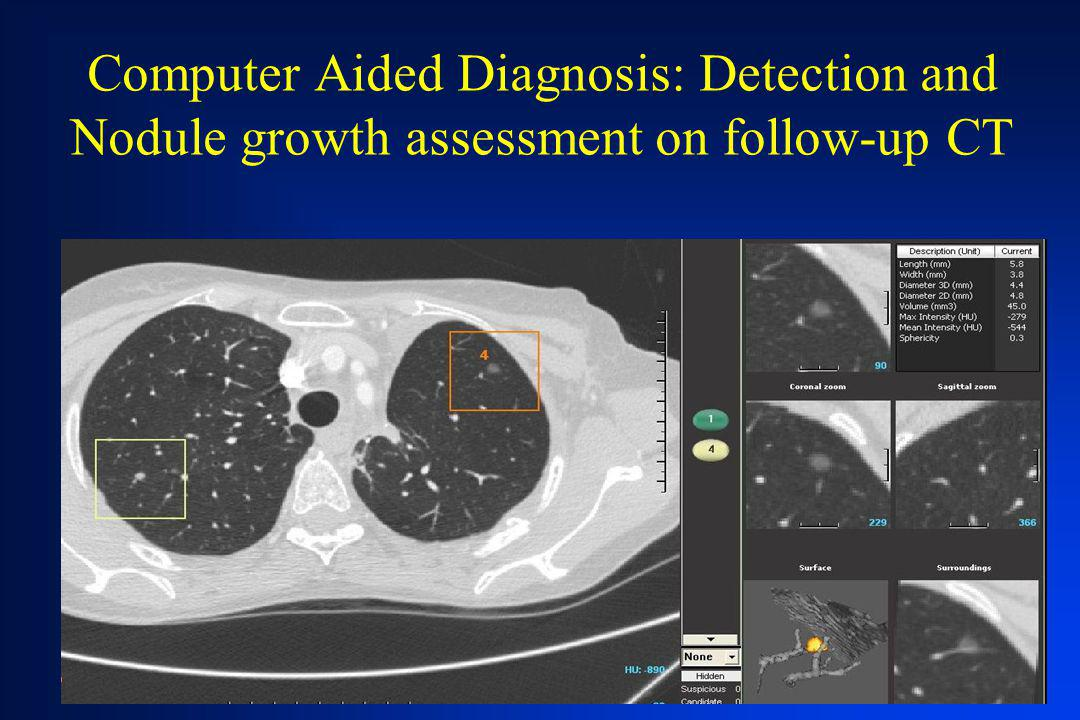Computer Aided Diagnosis: Detection and Nodule growth assessment on follow-up CT