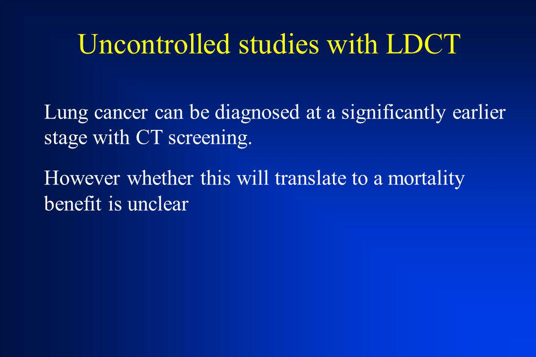 Uncontrolled studies with LDCT