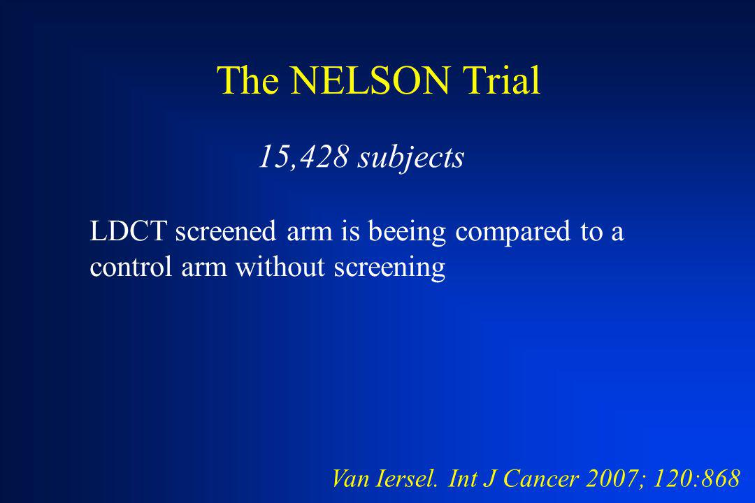 The NELSON Trial 15,428 subjects