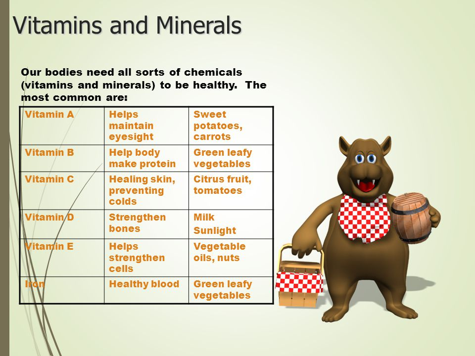 Vitamins and Minerals Our bodies need all sorts of chemicals (vitamins and minerals) to be healthy. The most common are: