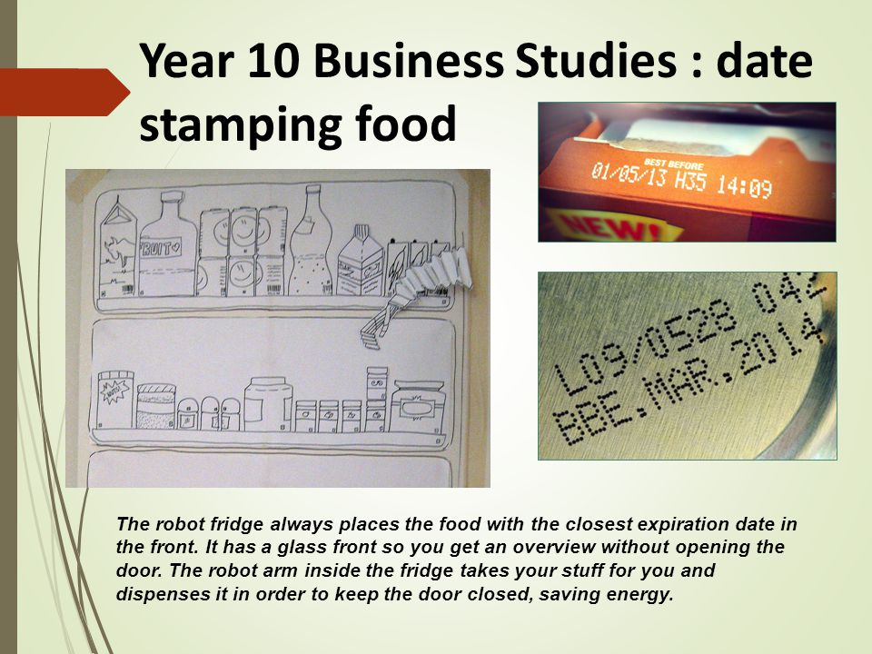 Year 10 Business Studies : date stamping food