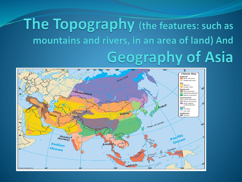 Map Of Asia Land Features.The Topography The Features Such As Mountains And Rivers In An