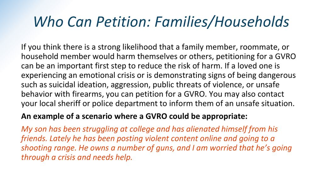 Who Can Petition: Families/Households