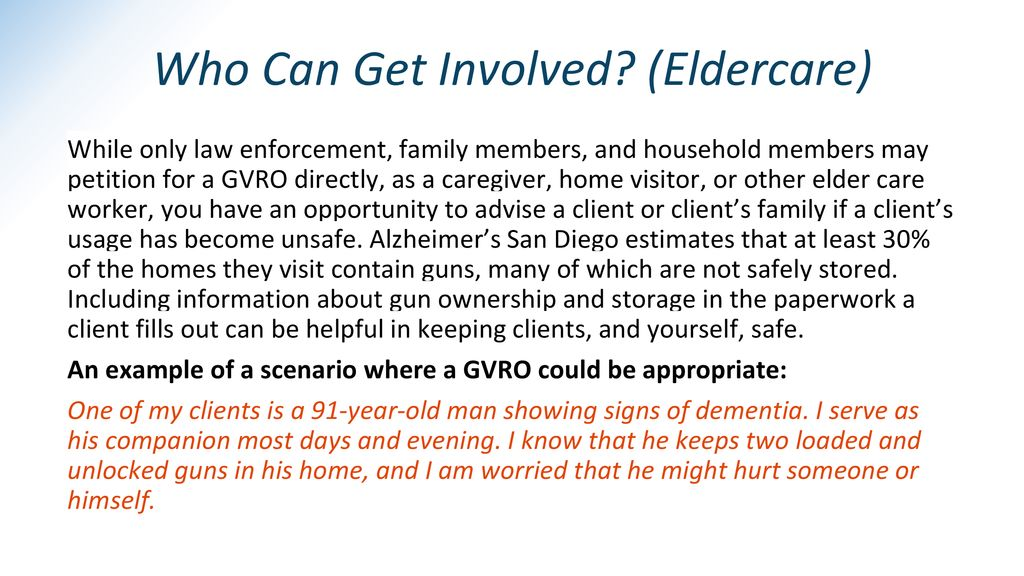 Who Can Get Involved (Eldercare)