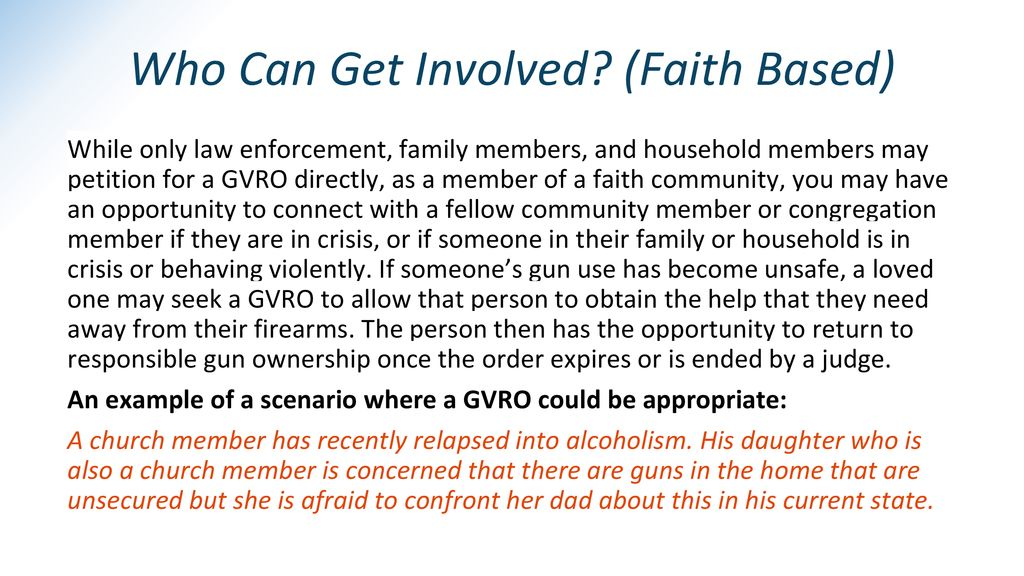 Who Can Get Involved (Faith Based)