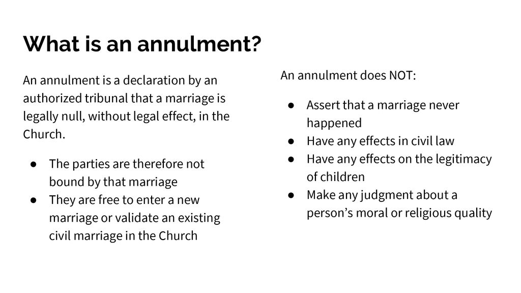 marriage without annulment