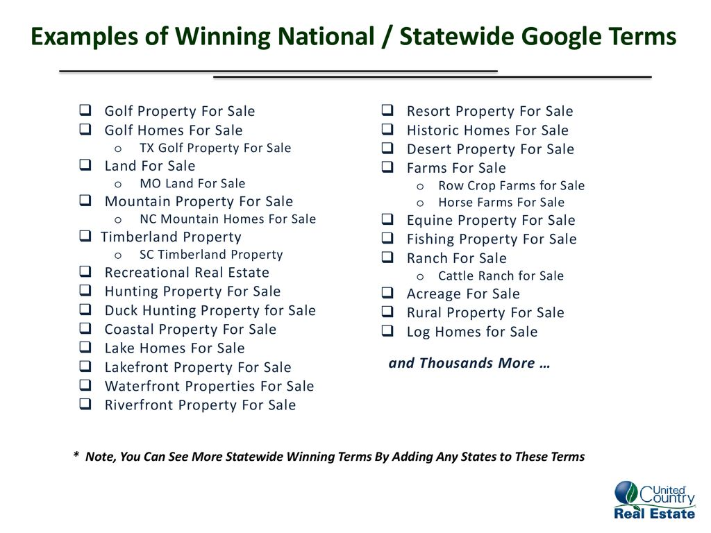 Examples of Winning National / Statewide Google Terms - ppt download