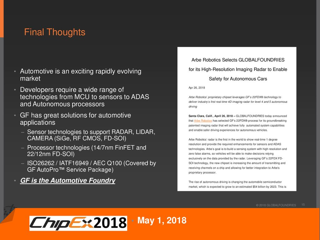 GLOBALFOUNDRIES Drives Automotive Electronics Forward - ppt