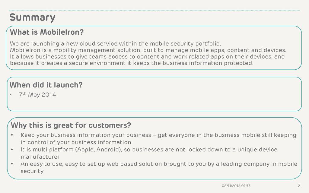 MobileIron SMALL BUSINESS SALES PRESENTER September ppt download