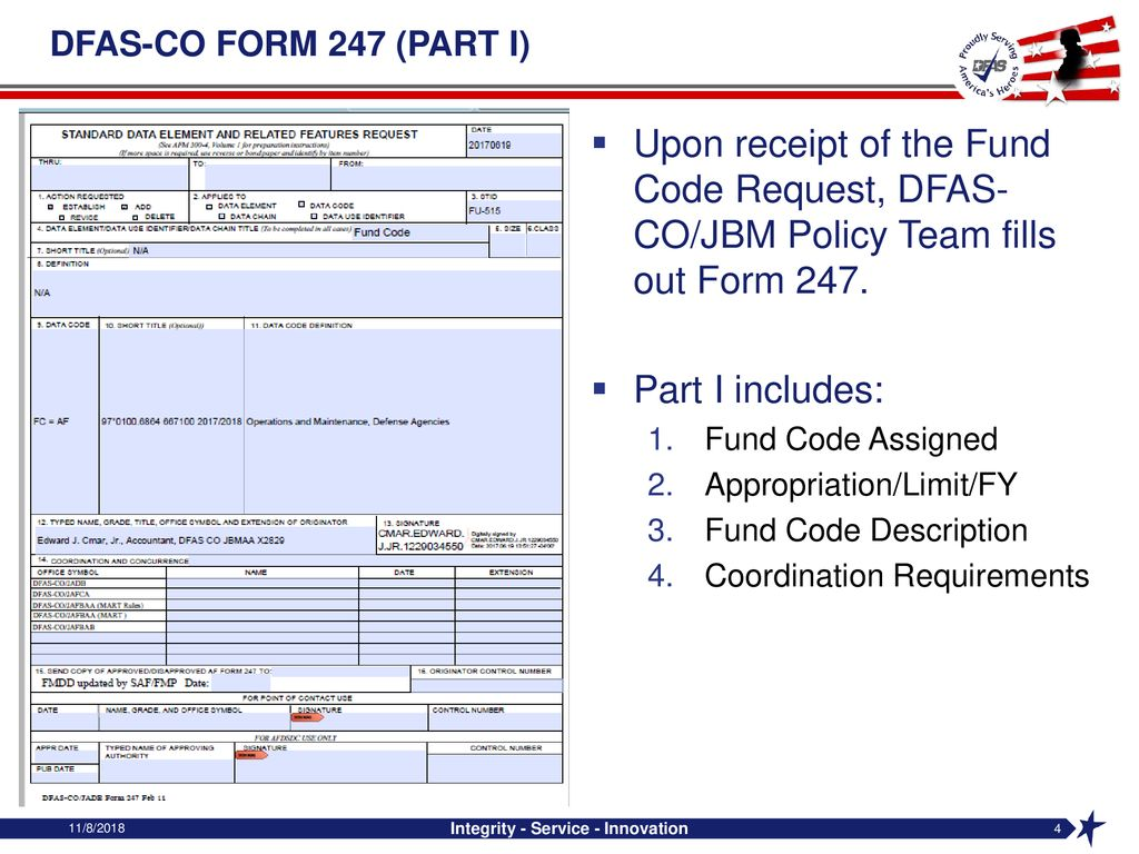 Finance PRC – February 2018 Air Force Fund Code Request