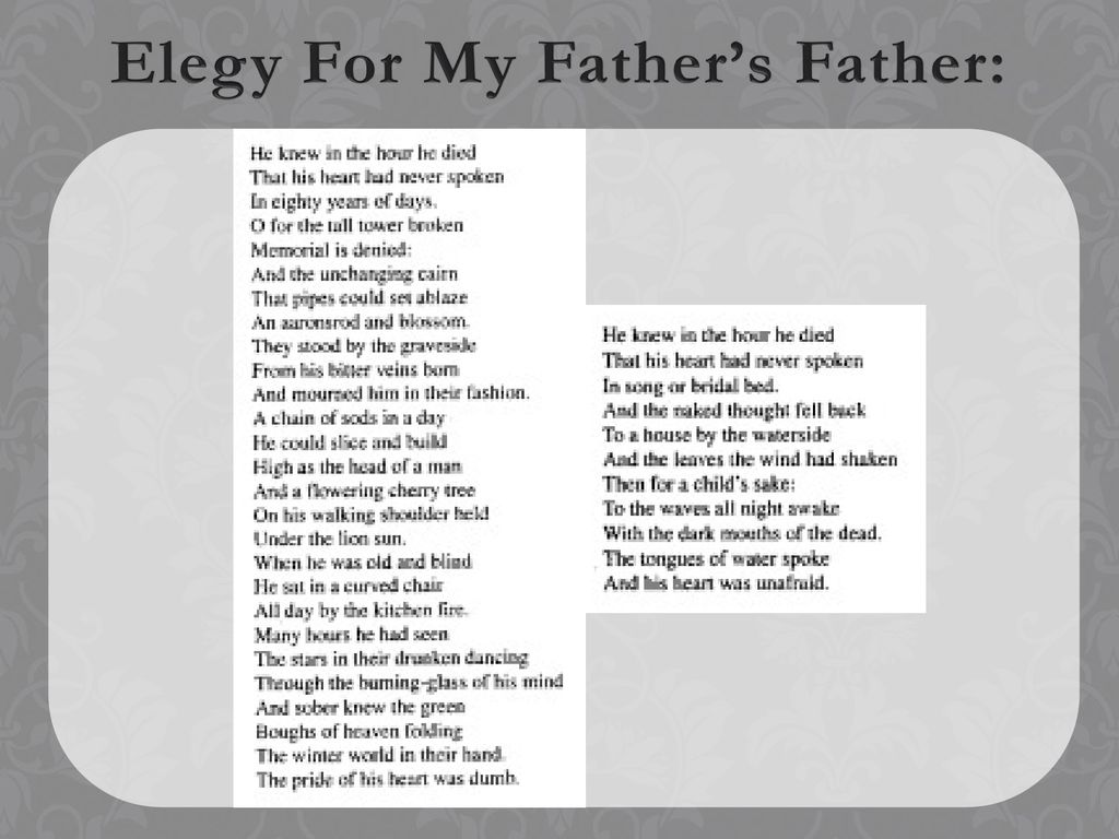 Elegy for my father's father - ppt download