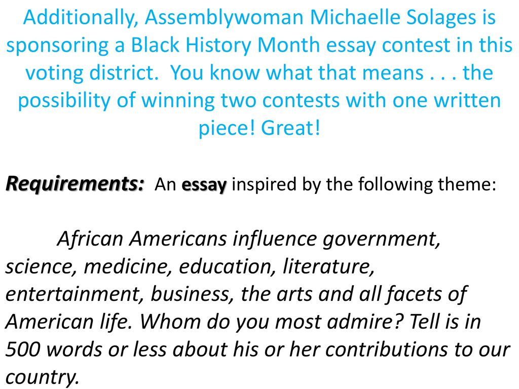 Good Thesis Statements For Essays  Additionally Assemblywoman Michaelle Solages Is Sponsoring A Black  History Month Essay Contest In This Voting District You Know What That  Means The  Modest Proposal Essay also Definition Essay Paper Instructions For Sewanhakas Diversity Contest And Your Voting  English Essay About Environment