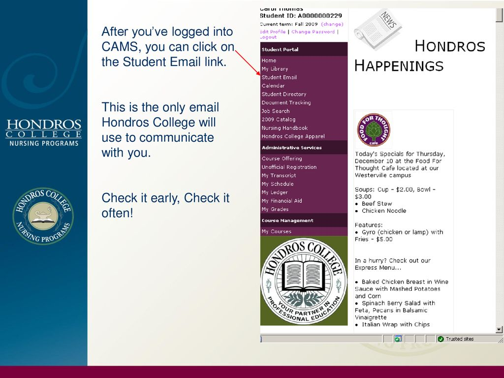 After you've logged into CAMS, you can click on the Student  link.