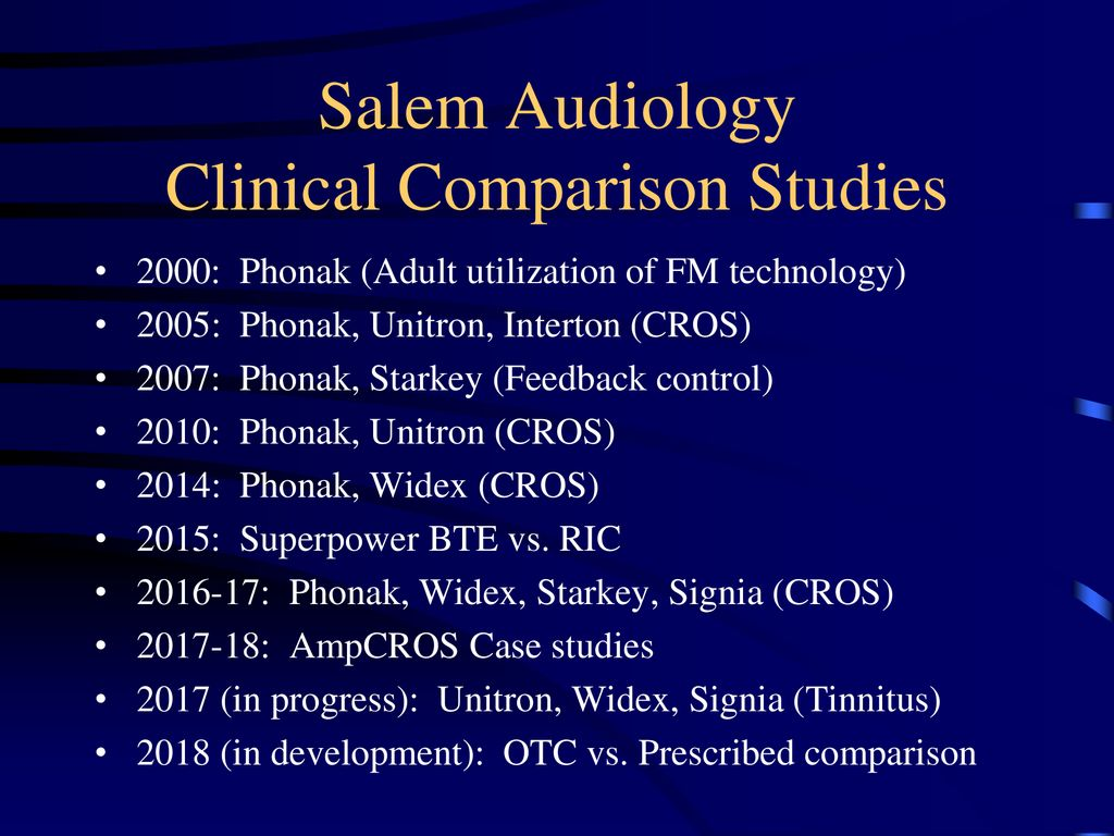 Clinic Hearing Aid Comparisons: CROS Technology - ppt download