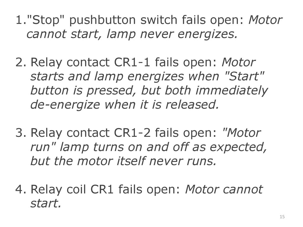 Stop pushbutton switch fails open: Motor cannot start, lamp never energizes.