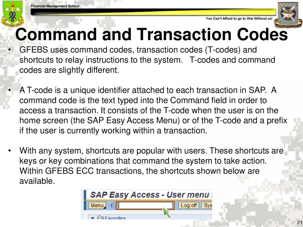 21 Command and Transaction Codes