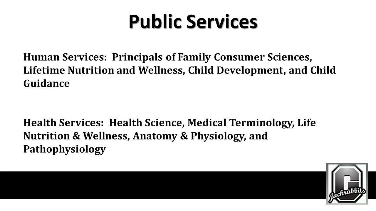 Public Services Human Services: Principals of Family Consumer Sciences, Lifetime Nutrition and Wellness, Child Development, and Child Guidance.