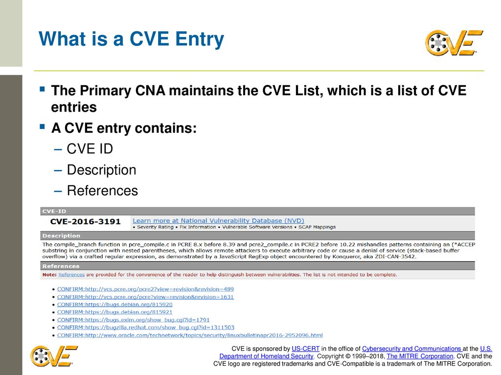 Madison : What is a cve entry