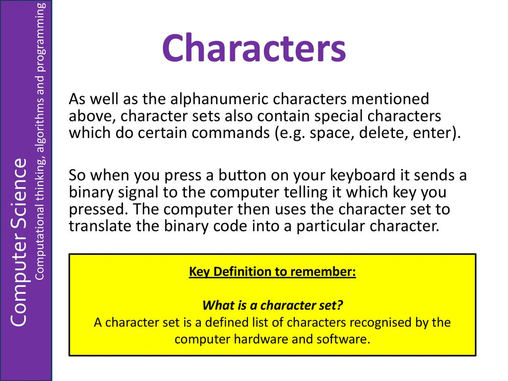 Representing Characters - ppt download