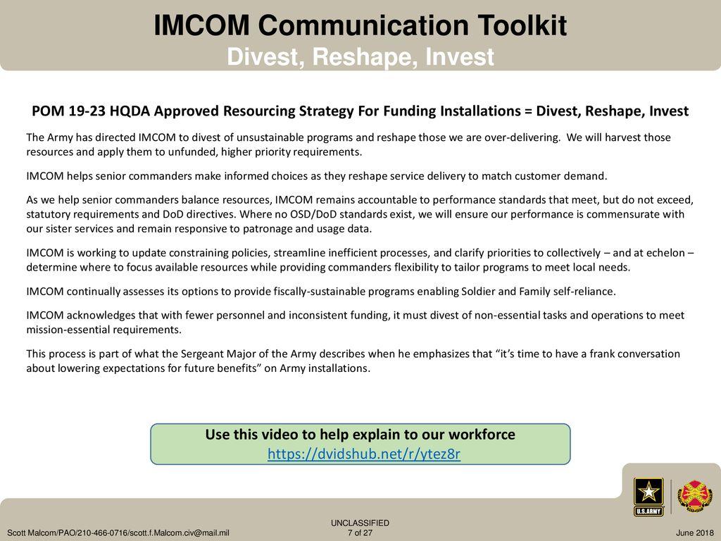 imcom fy14 funding guidance