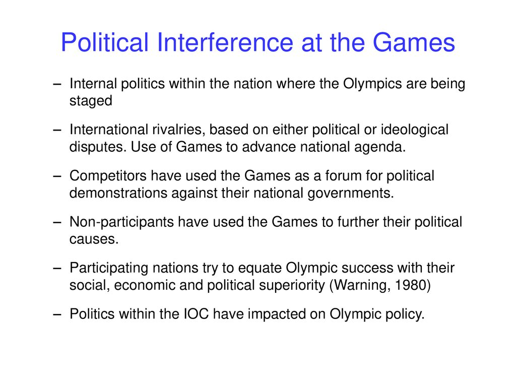how politics interfere in olympic game