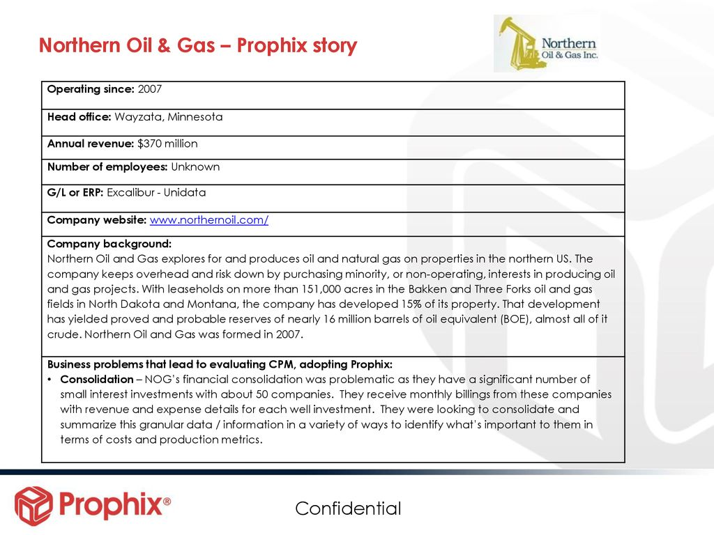 Northern Oil & Gas – Prophix story - ppt download