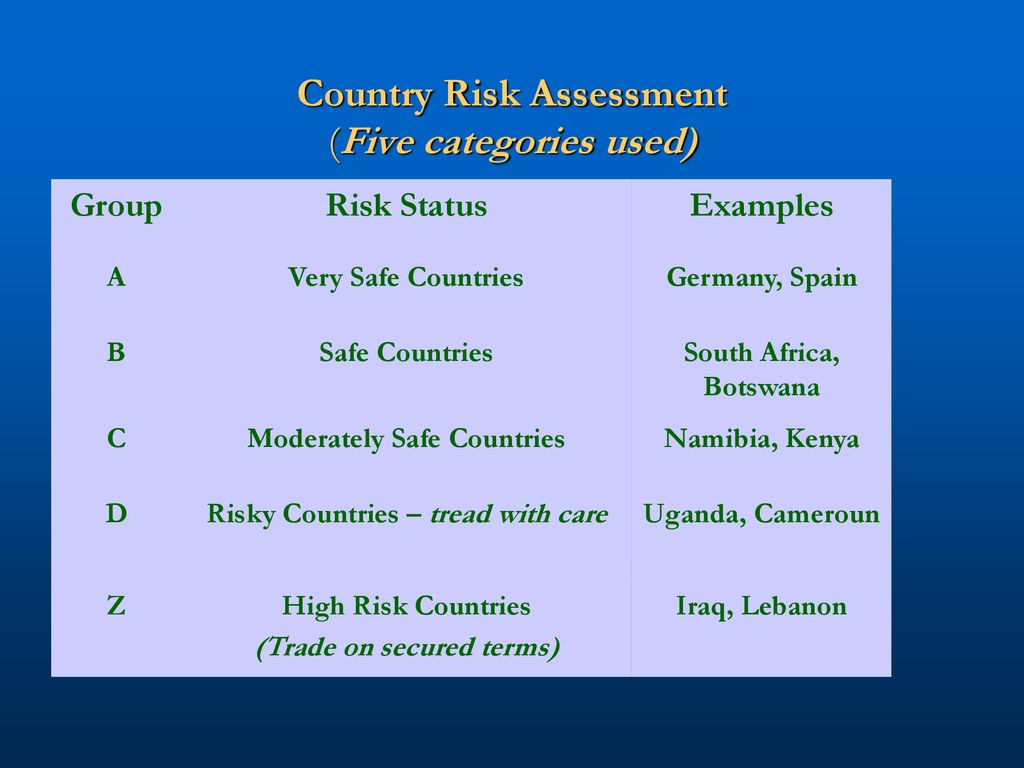 country risk assessment example