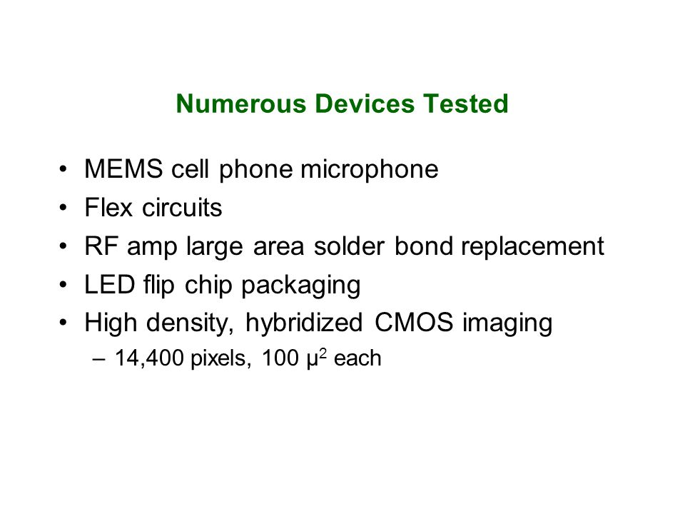 Numerous Devices Tested