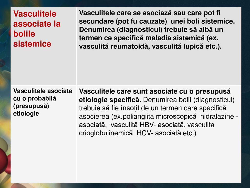 boli sistemice ale vasculitei țesutului conjunctiv)