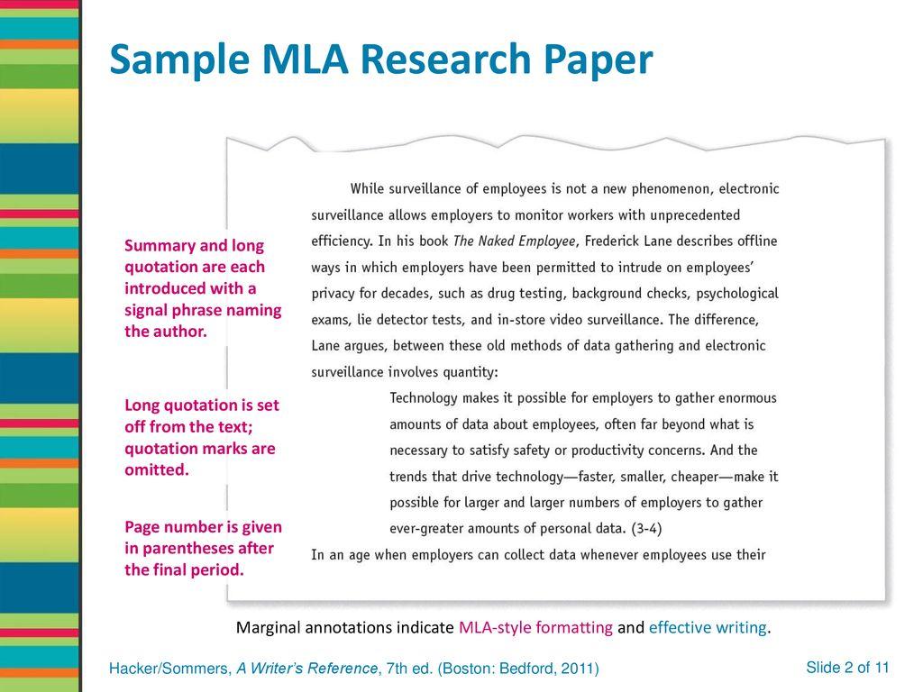 research paper sample mla