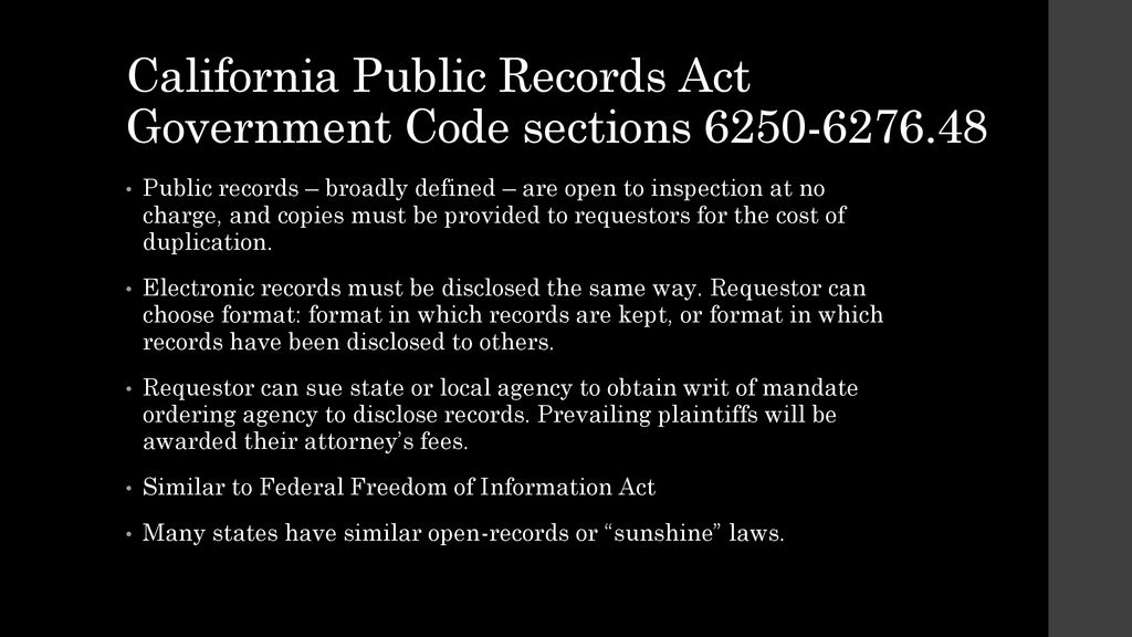 california freedom of information act exemptions