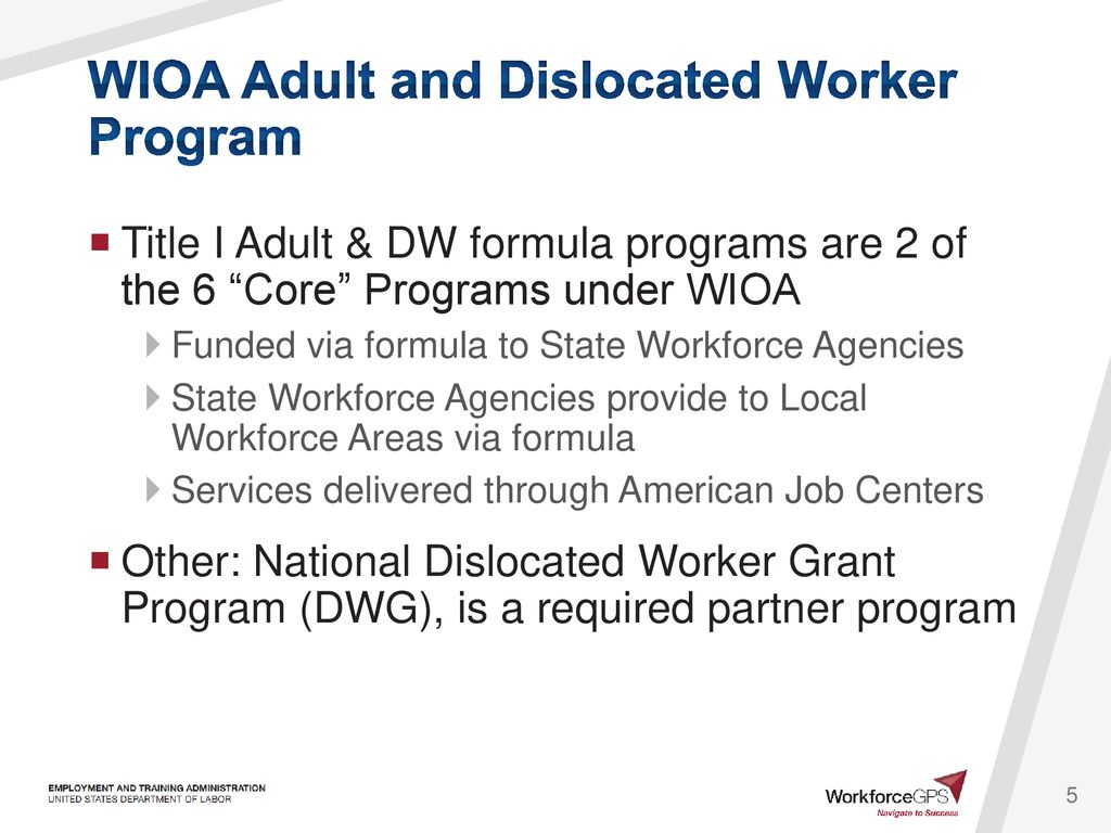 WIOA Partner Program Briefing: Adult and Dislocated Worker