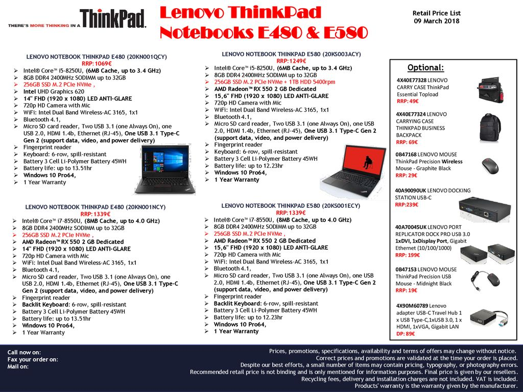 Lenovo ThinkPad Notebooks E480 & E ppt download