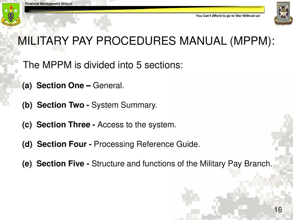 16 MILITARY PAY PROCEDURES MANUAL (MPPM):