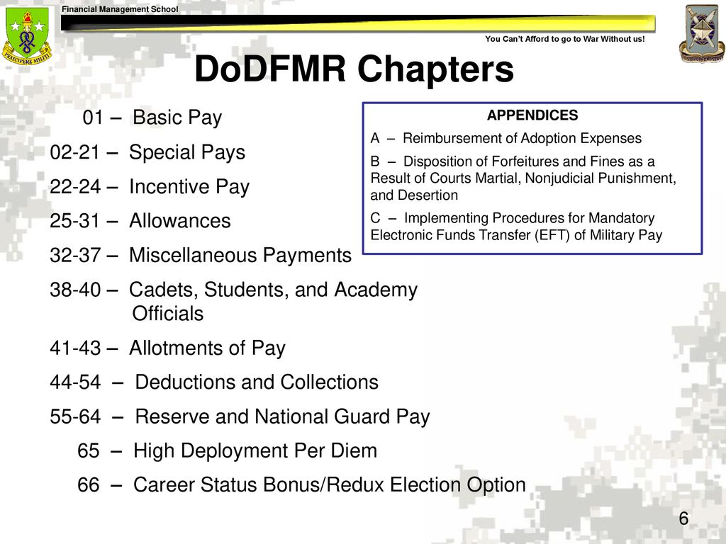 DoDFMR Chapters 01 – Basic Pay – Special Pays