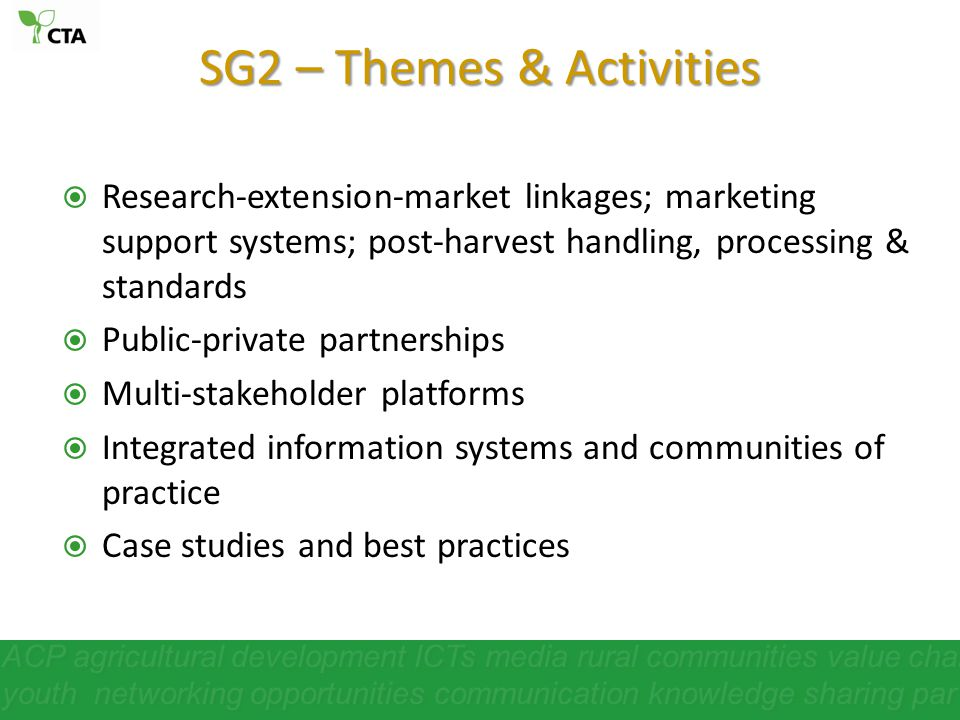 SG2 – Themes & Activities
