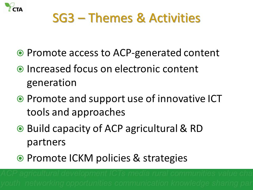 SG3 – Themes & Activities