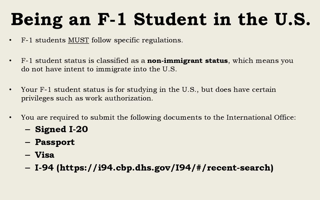 Maintaining your F-1 Visa Status - ppt download